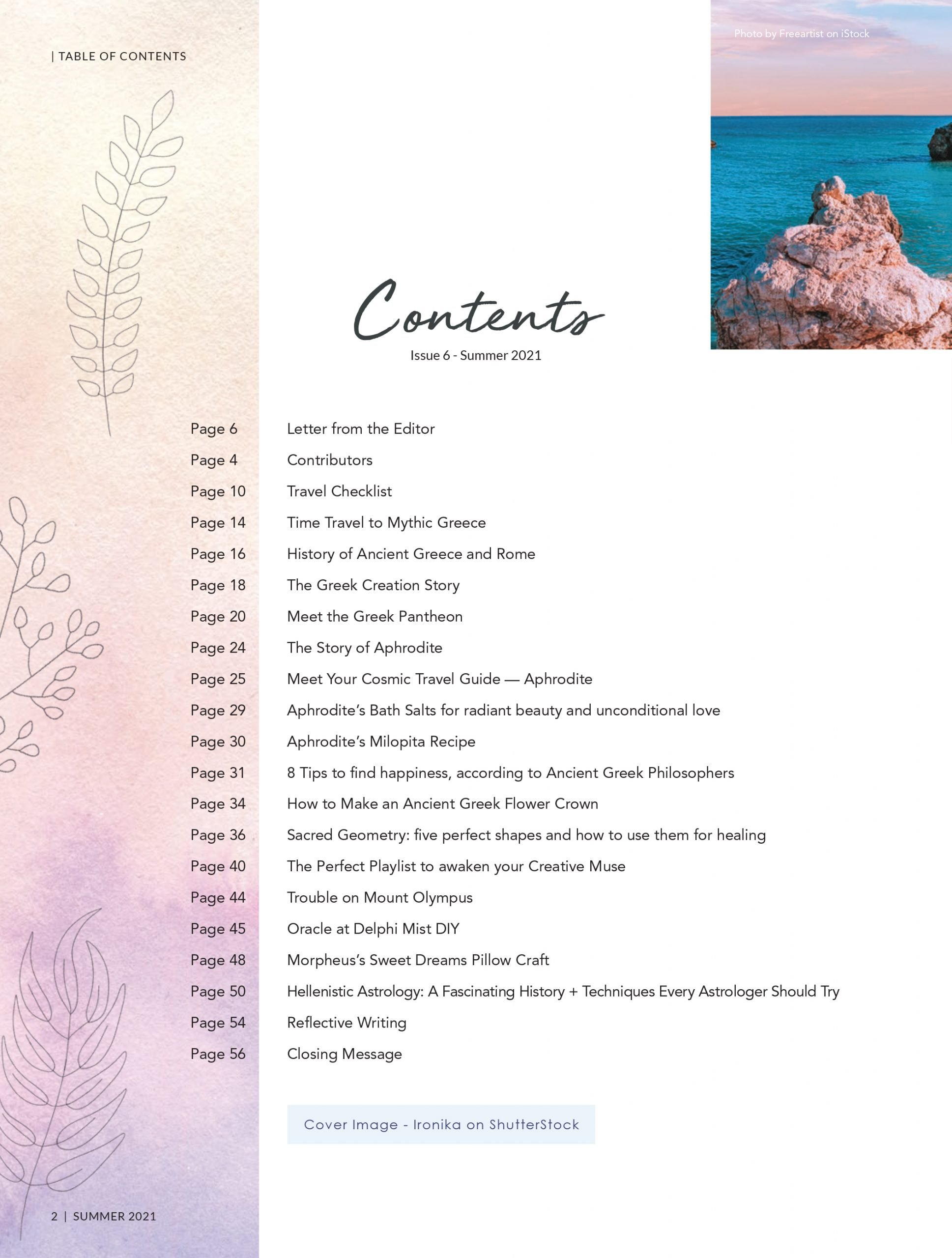 Summer Issue Contents