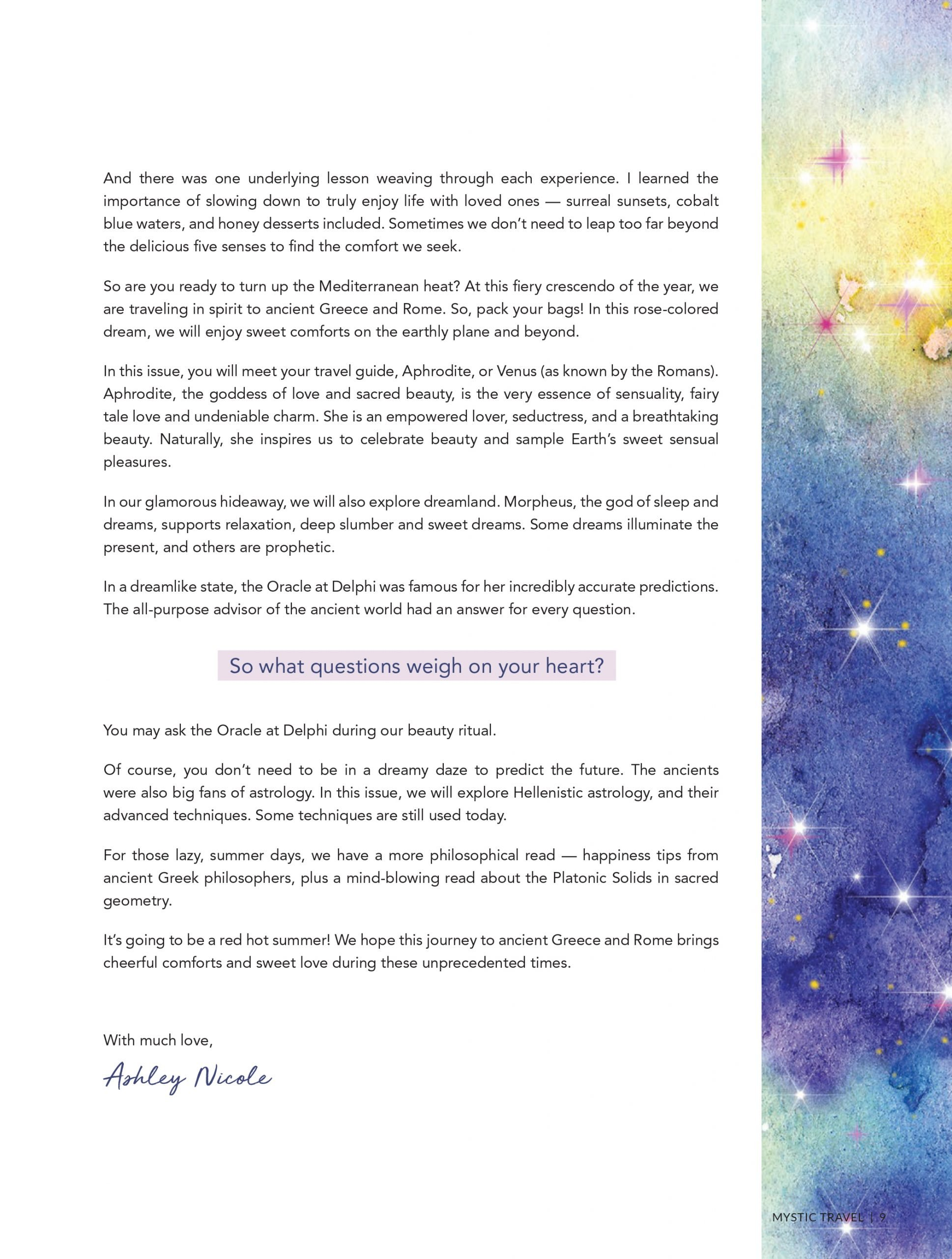 Mystic Travel Summer Issue Letter from the Editor 3